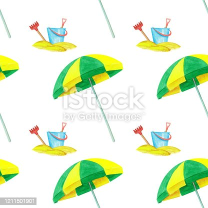Hand-drawn yellow and green watercolor beach umbrella and bucket with the scoop and rake seamless pattern on white background. Summer accessories for the beach endless print for your design. Wallpaper.