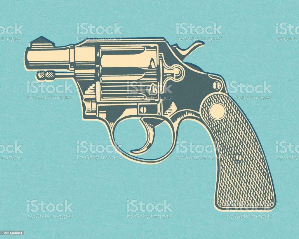 Hand Gun on Blue Background vector art illustration