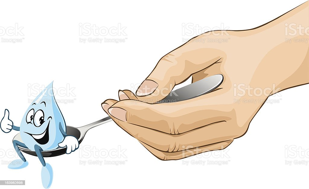 hand hold spoon with drop of syrup cartoon royalty-free stock vector art
