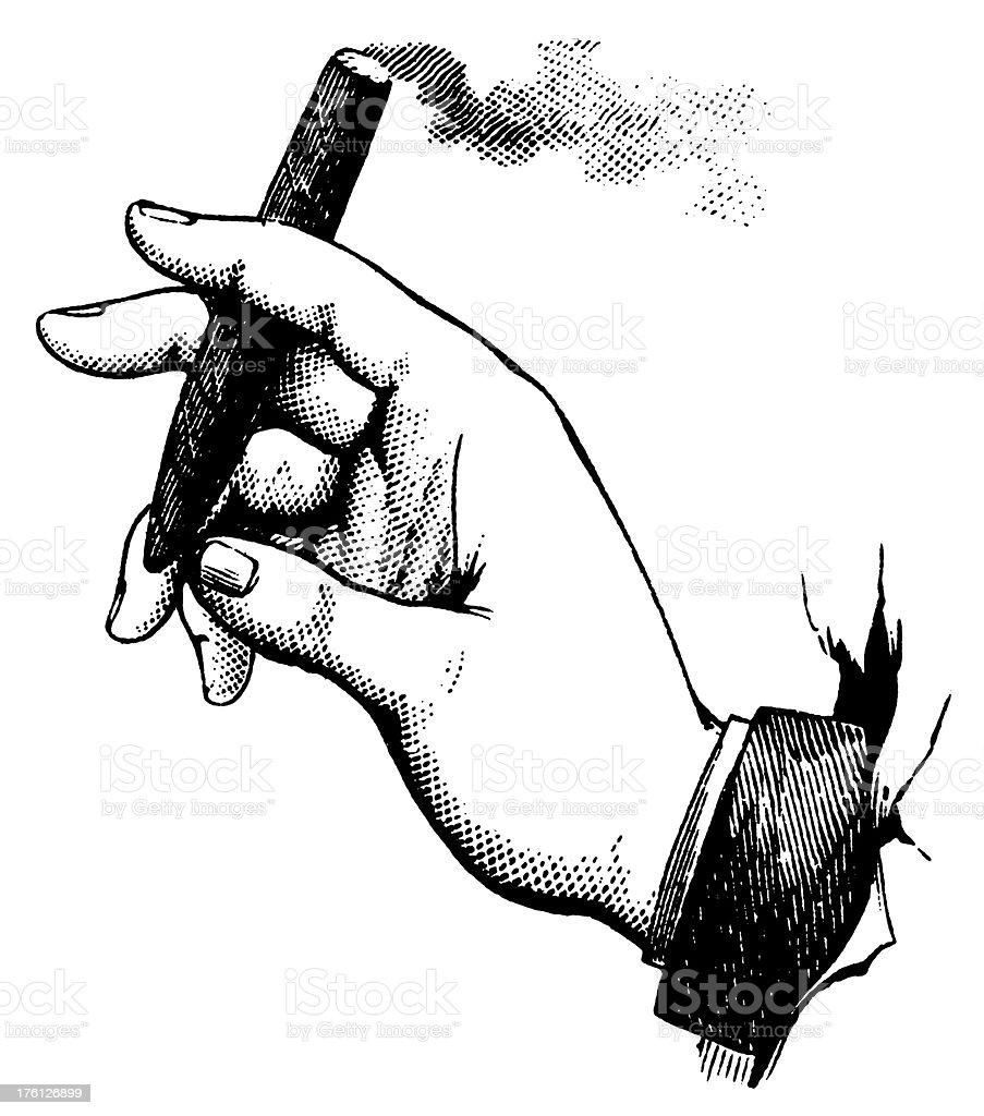 Hand holding a cigar   Antique Design Illustrations vector art illustration