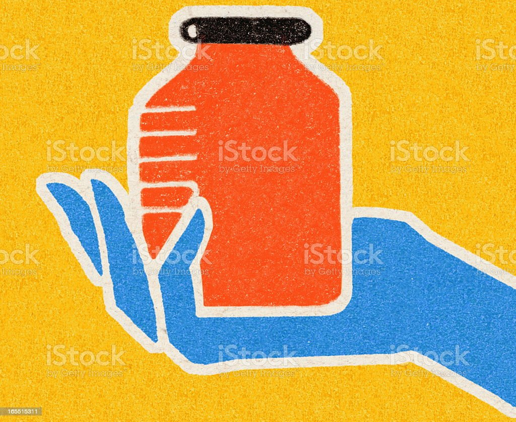 Hand Holding a Container royalty-free stock vector art