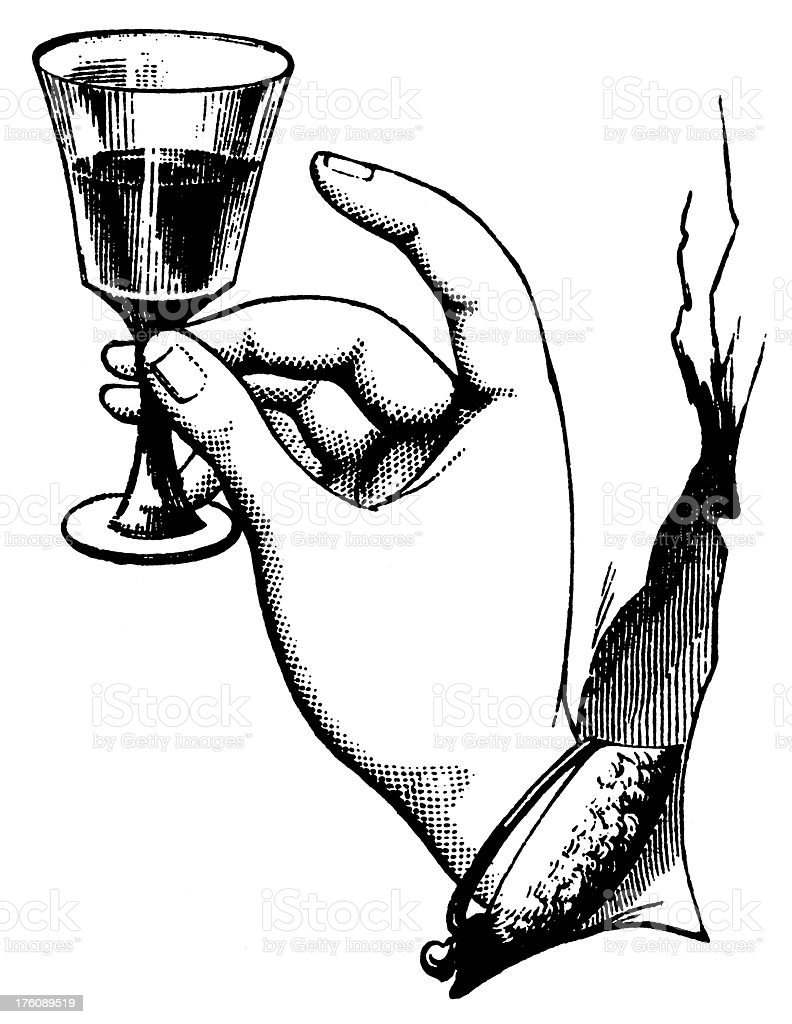 Hand holding a glass | Antique Design Illustrations royalty-free stock vector art