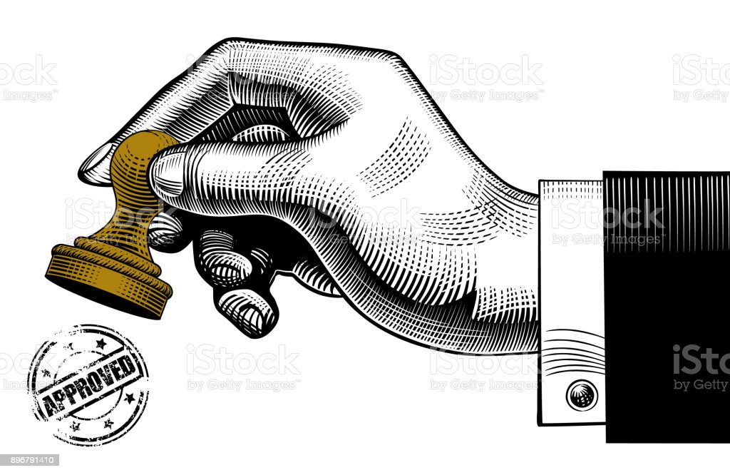 Hand holding a rubber stamp and round approved seal vector art illustration