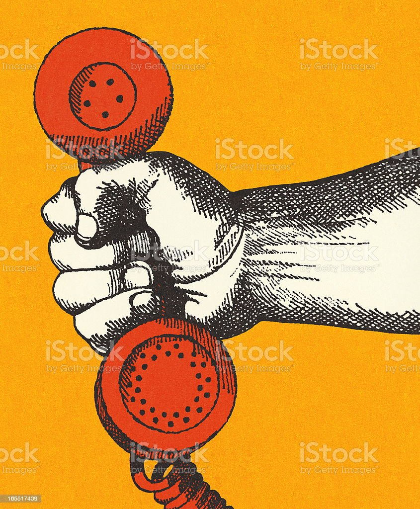 Hand Holding a Telephone Handset royalty-free stock vector art