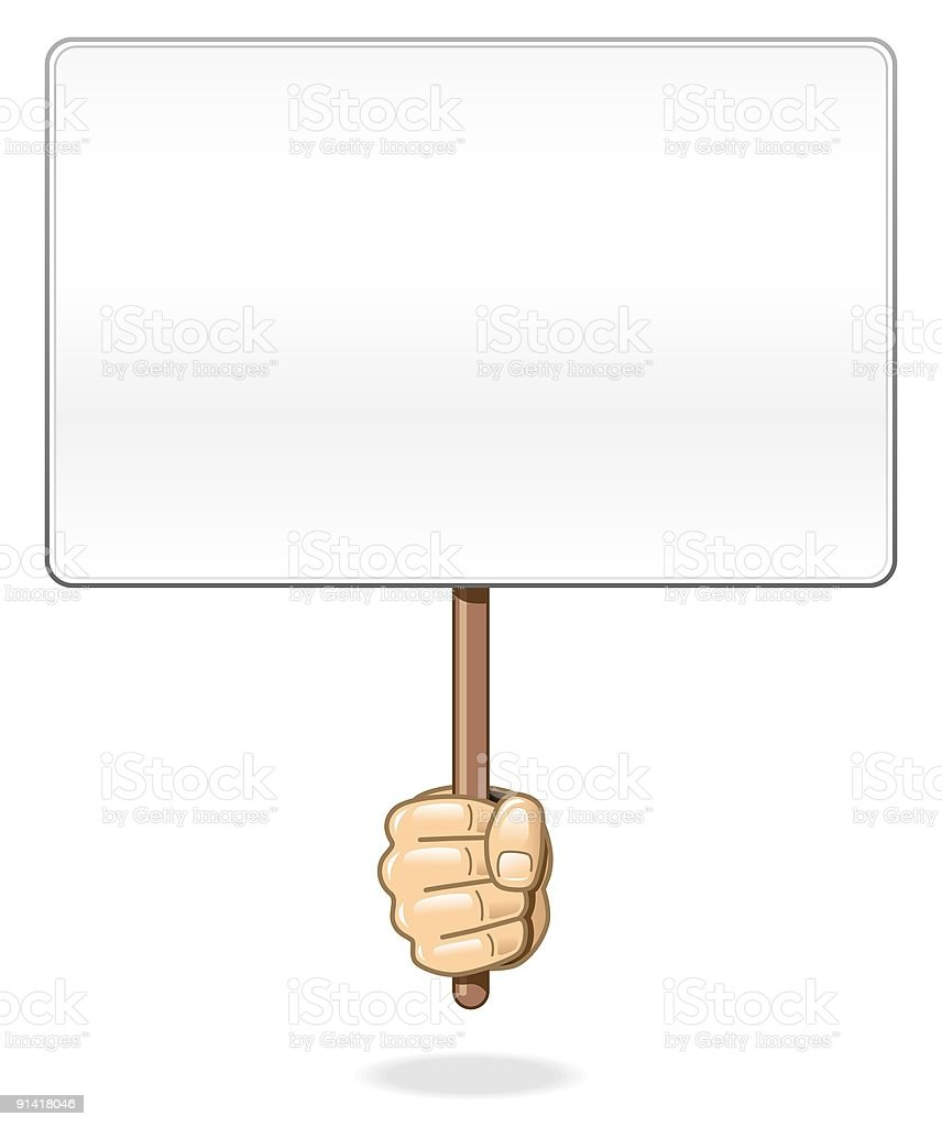 Hand holding blank board royalty-free stock vector art