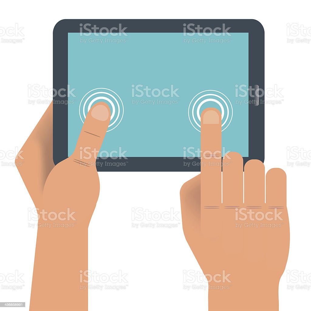 Hand holding digital tablet royalty-free hand holding digital tablet stock vector art & more images of blank