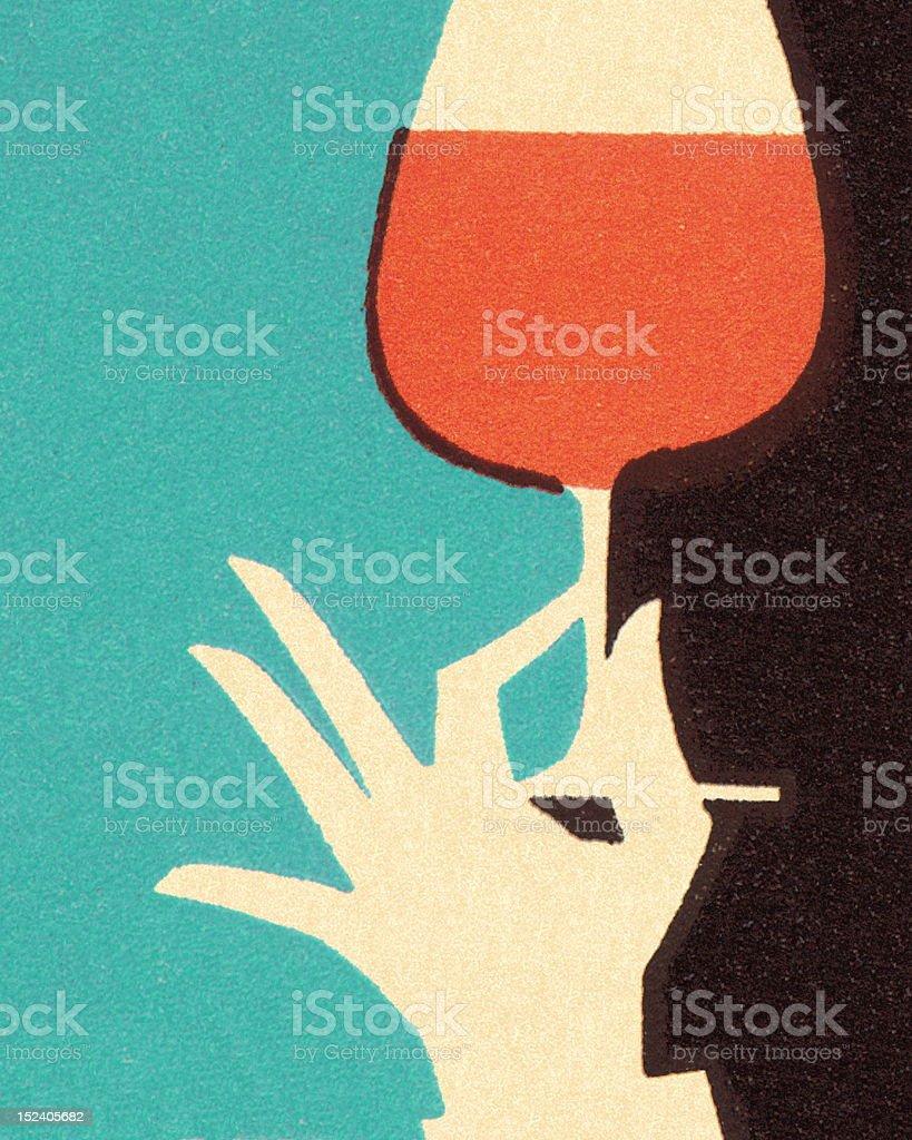 Hand Holding Glass of Wine vector art illustration