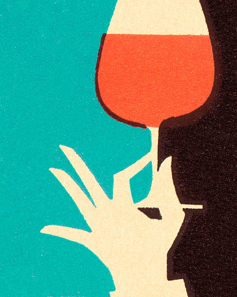 hand holding glass of wine - happy hour stock illustrations, clip art, cartoons, & icons