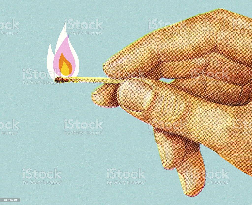 Hand Holding Lit Match vector art illustration