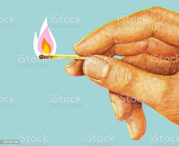 Hand Holding Lit Match-vektorgrafik och fler bilder på Antända
