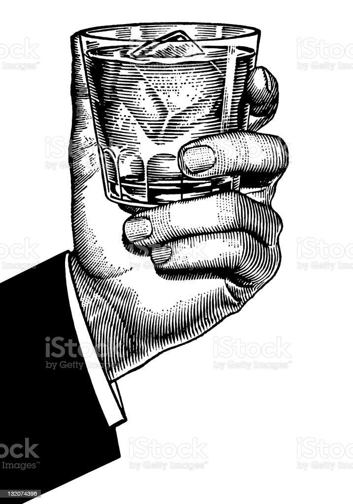 Mão segurando uma bola de vidro de baixo - ilustração de arte em vetor