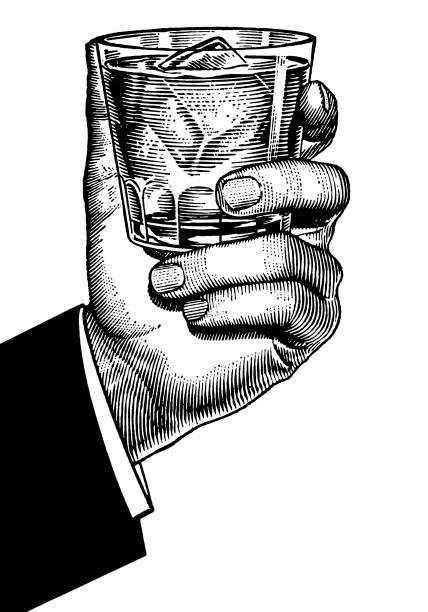Mano agarrando bajo vidrio de bola - ilustración de arte vectorial