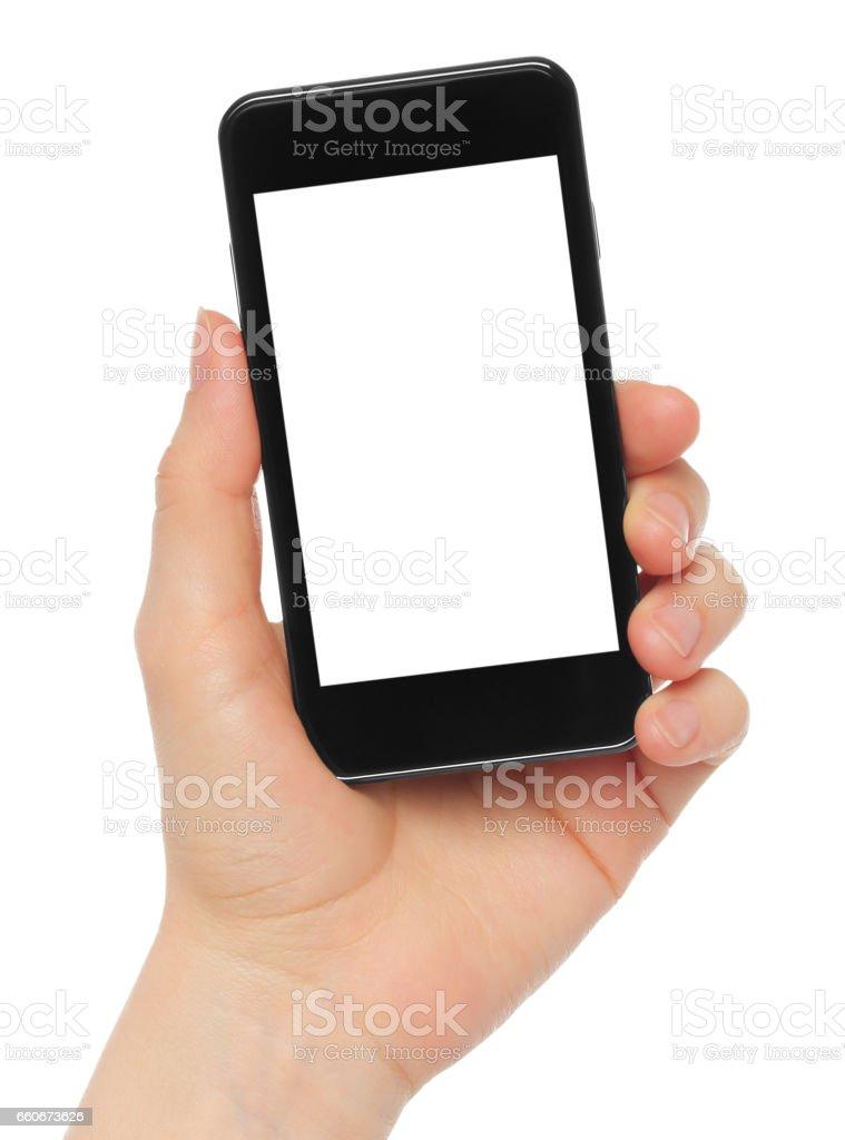 Hand holding smart phone on white background vector art illustration
