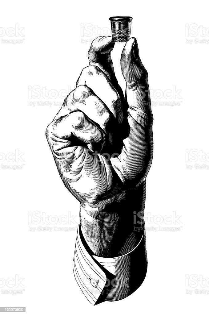 Hand Holding Thimble vector art illustration