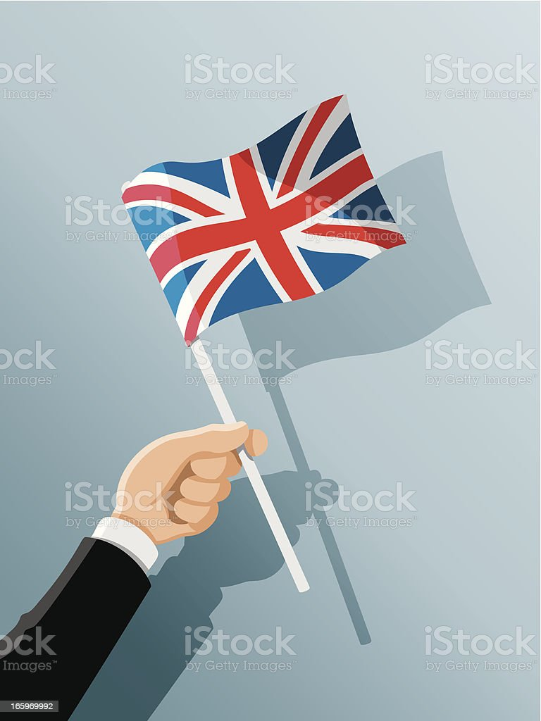 Hand Holding United Kingdom Flag vector art illustration