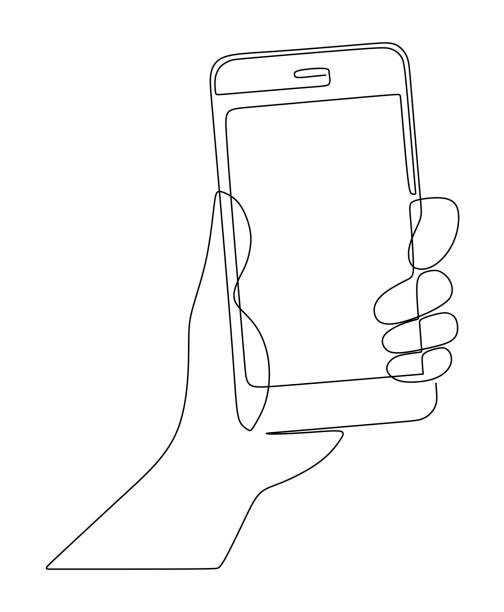 Hand holds the phone drawn by one continuous line on a white background Hand holds the phone drawn by one continuous line on a white background contour drawing stock illustrations