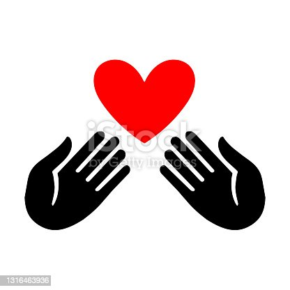 istock Hand icon with heart flat style sign for design. Charity symbol, logo illustration. 1316463936
