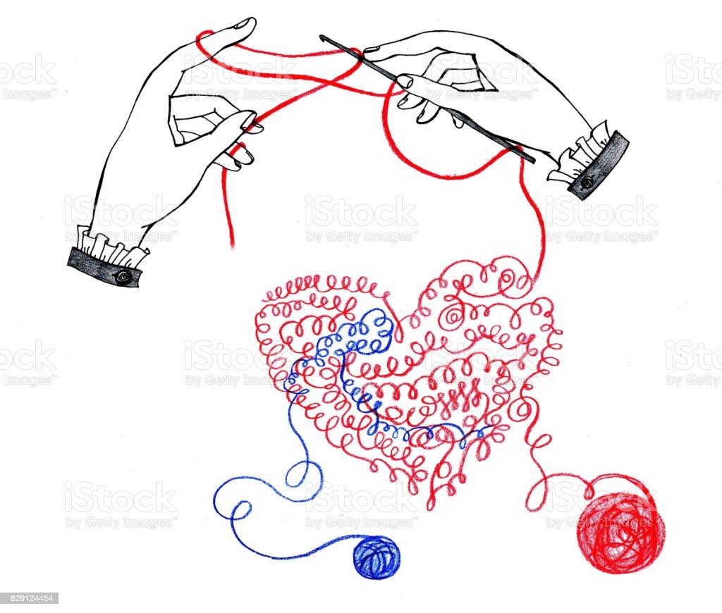 Ilustración de Corazón De Hilo Tejido A Mano y más banco de imágenes ...