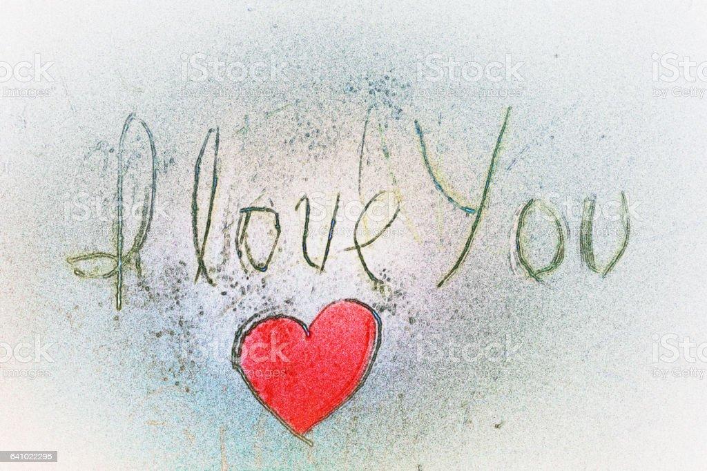 Te amo mano letrar y rojo en forma de corazón - ilustración de arte vectorial