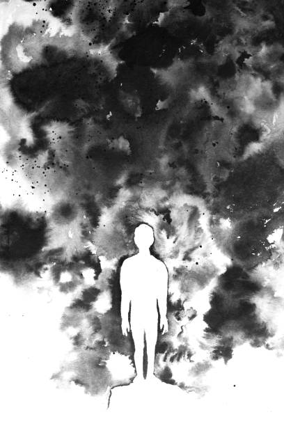 ilustrações de stock, clip art, desenhos animados e ícones de hand made black and white ink painting using short brushstrokes and highlighting the silhouette of a person or child against a dark backdrop - criança perdida