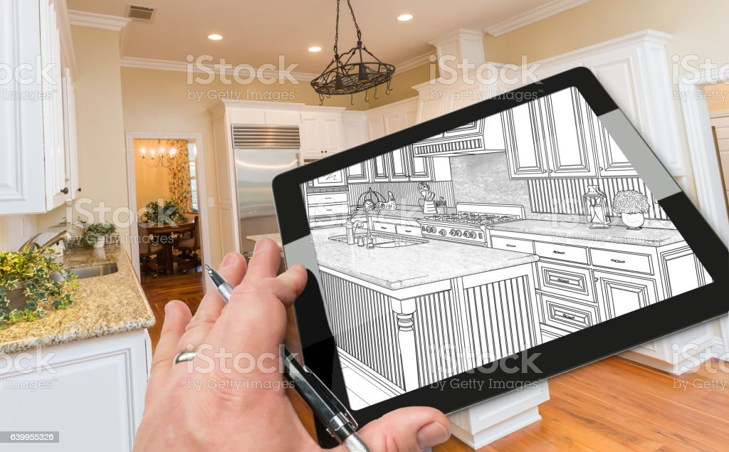 Hand on Computer Tablet Showing Drawing of Kitchen Photo Behind. vector art illustration