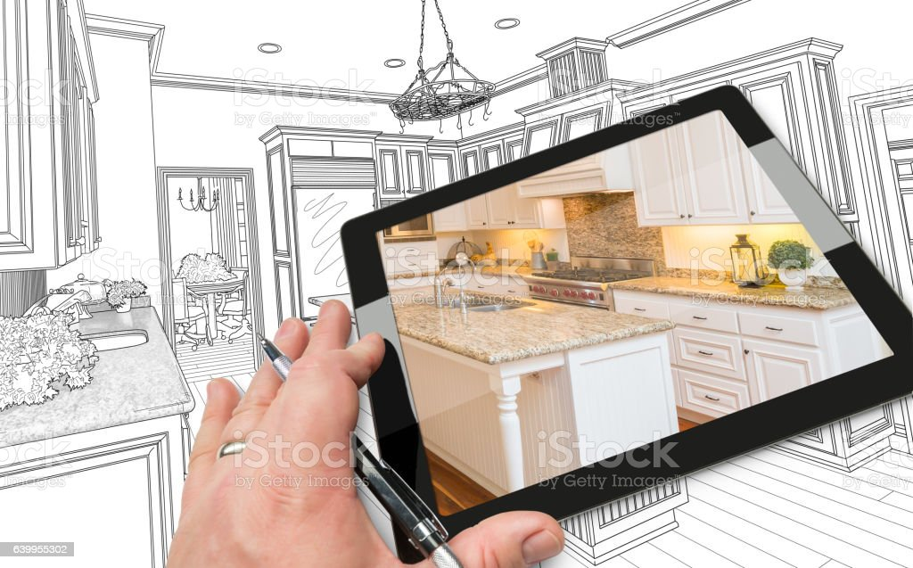 Hand on Computer Tablet Showing Photo of Kitchen Drawing Behind. vector art illustration