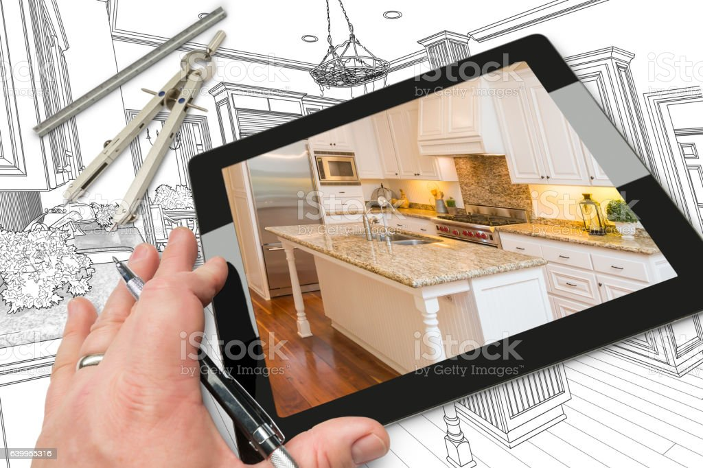 Hand on Computer Tablet Showing Photo of Kitchen Drawing Behind vector art illustration