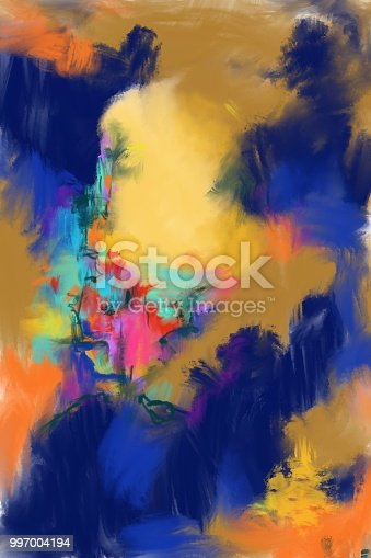 original digitally painted abstract artwork in oil and acrylic technique
