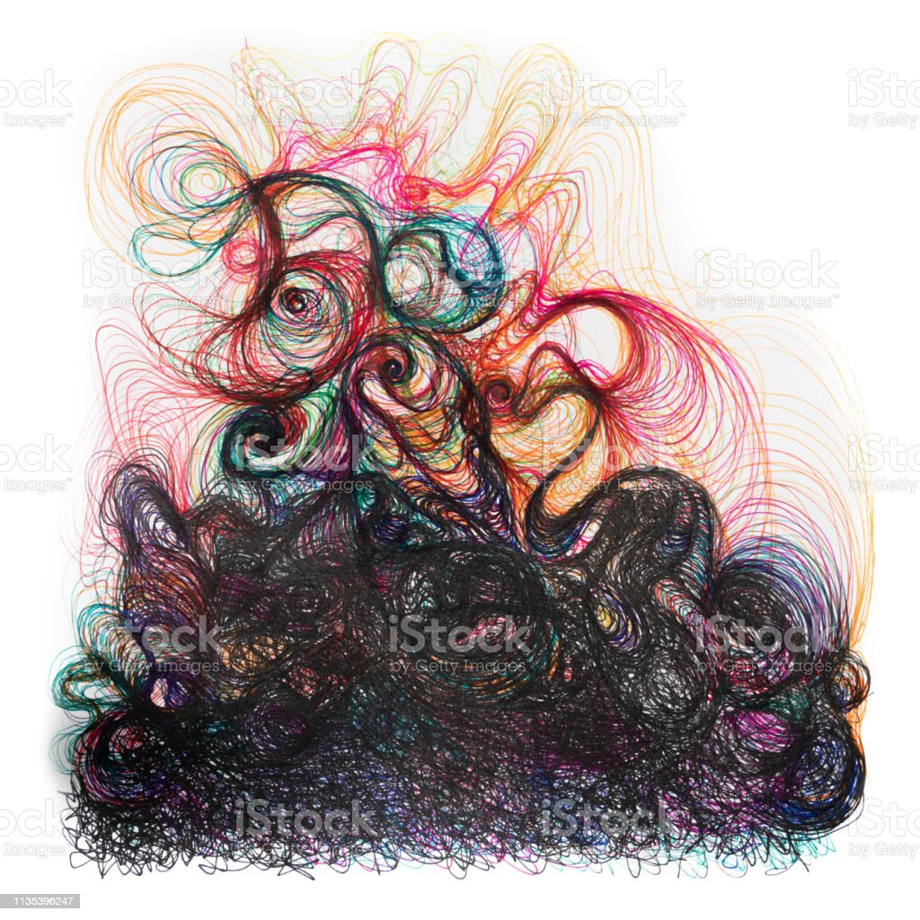 Hand Painted Colourful And Black Pen Drawing With Beautiful