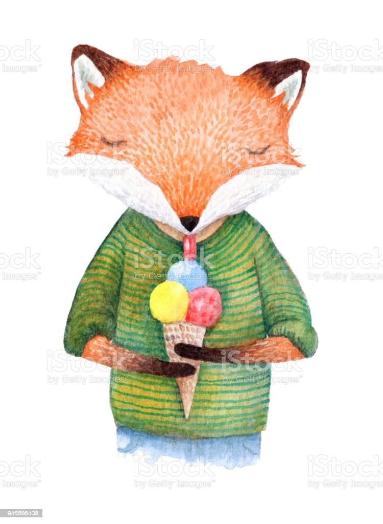 Hand Painted Fox Eating An Ice Cream Watercolor Illustration