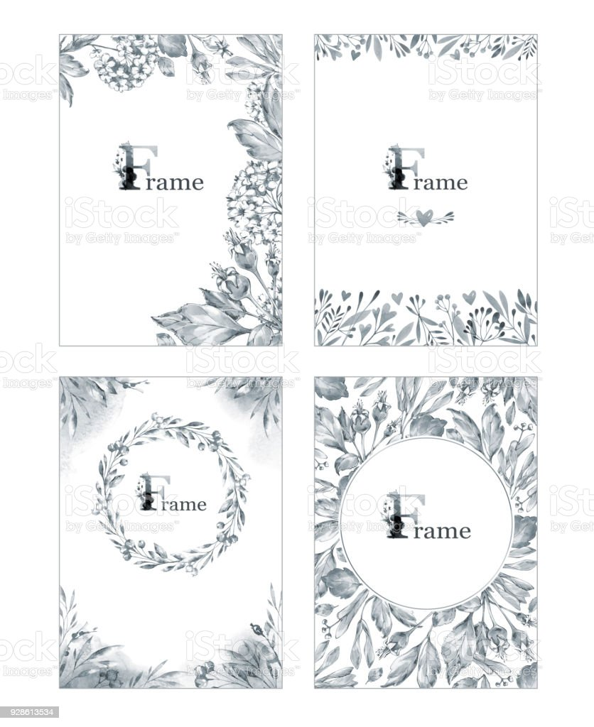 Hand Painted Frames Collection With Flowers And Leaves Nature