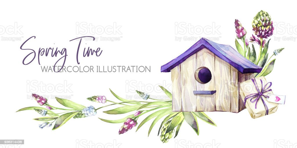 Hand Painted Horizontal Border With Hyacinths Flowers Leaves And Birdhouse Spring Rustic Watercolor Illustration