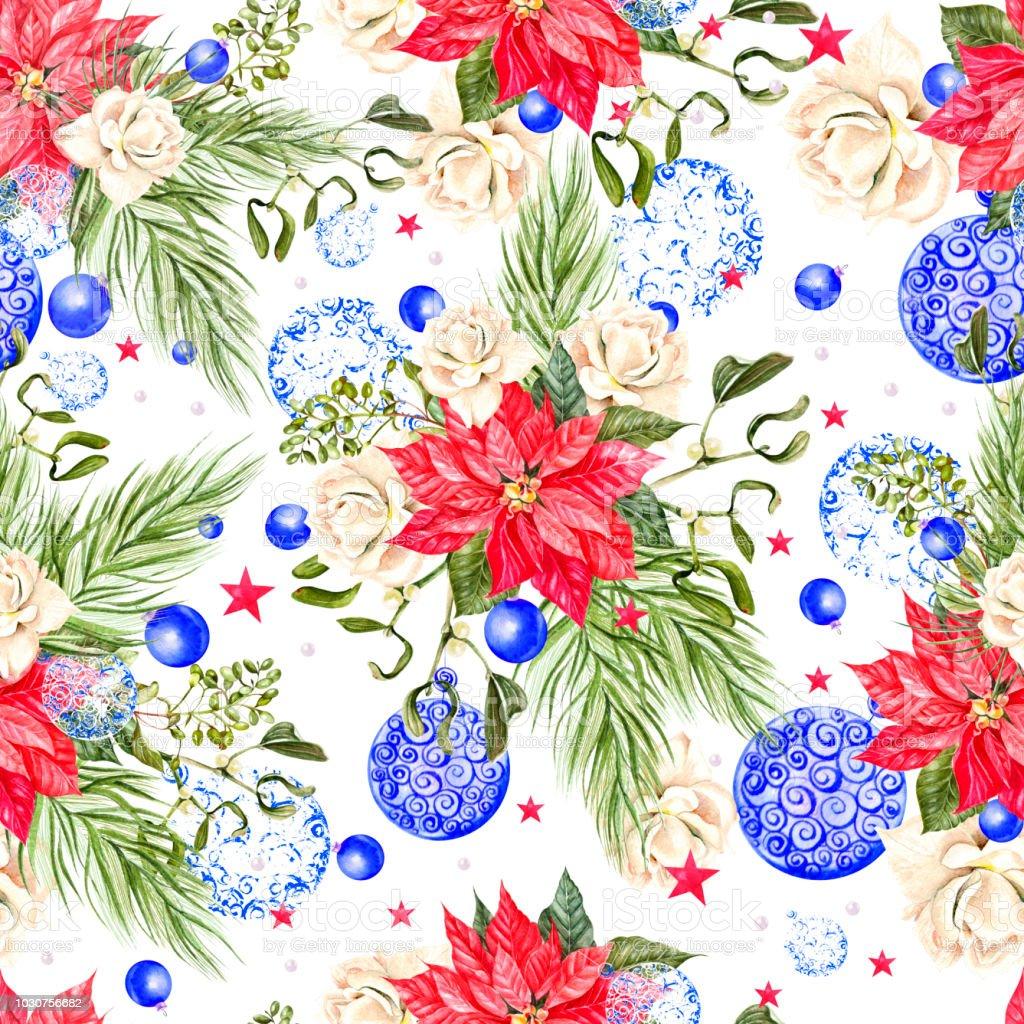 Handgemalte Frohe Weihnachten Musterdesign Mit Aquarell ...
