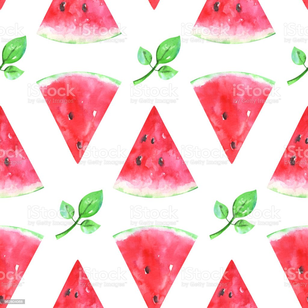 Hand painted minimalist seamless fruits pattern with watercolor watermelon vector art illustration