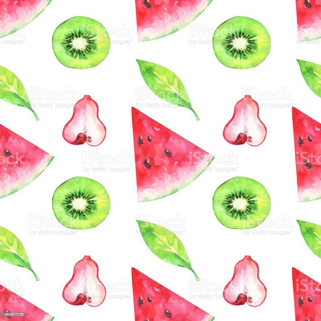 Hand painted minimalist seamless fruits pattern with watercolor watermelon, kiwi and green leaf royalty-free hand painted minimalist seamless fruits pattern with watercolor watermelon kiwi and green leaf stock vector art & more images of appearance