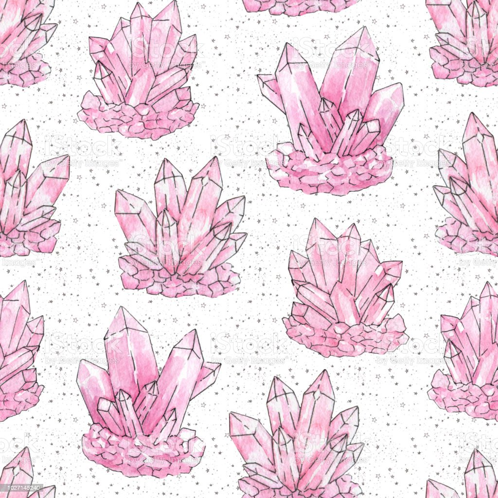Hand Painted Watercolor And Ink Pink Cluster Crystals