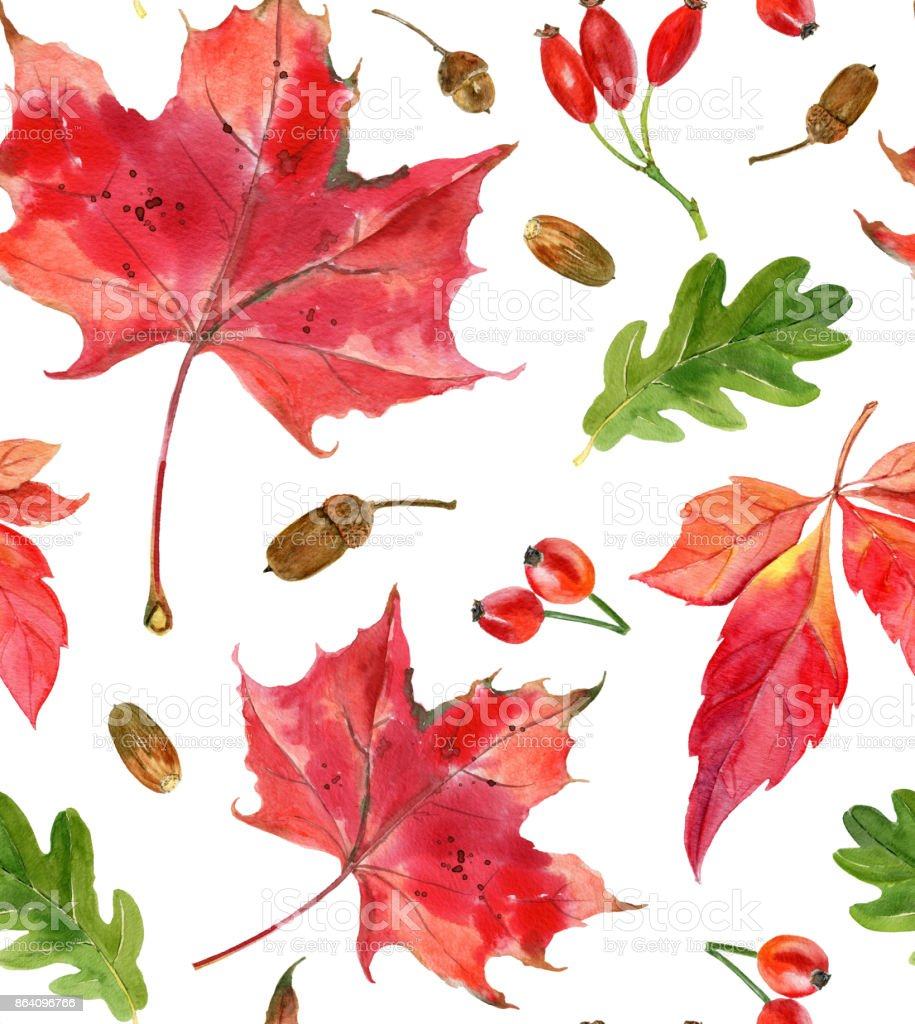 Hand painted watercolor autumn leaves pattern. Seamless background royalty-free hand painted watercolor autumn leaves pattern seamless background stock vector art & more images of acorn