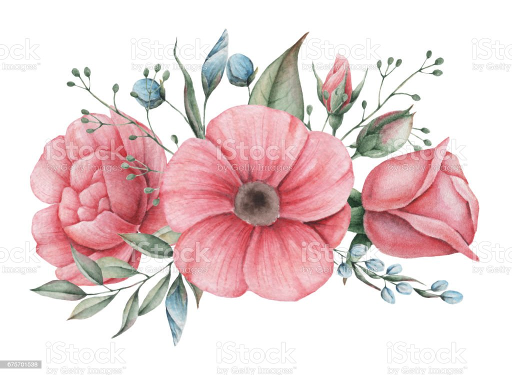 Hand painted watercolor charming combination of Flowers and Leaves, isolated on white background royalty-free hand painted watercolor charming combination of flowers and leaves isolated on white background stock vector art & more images of archival