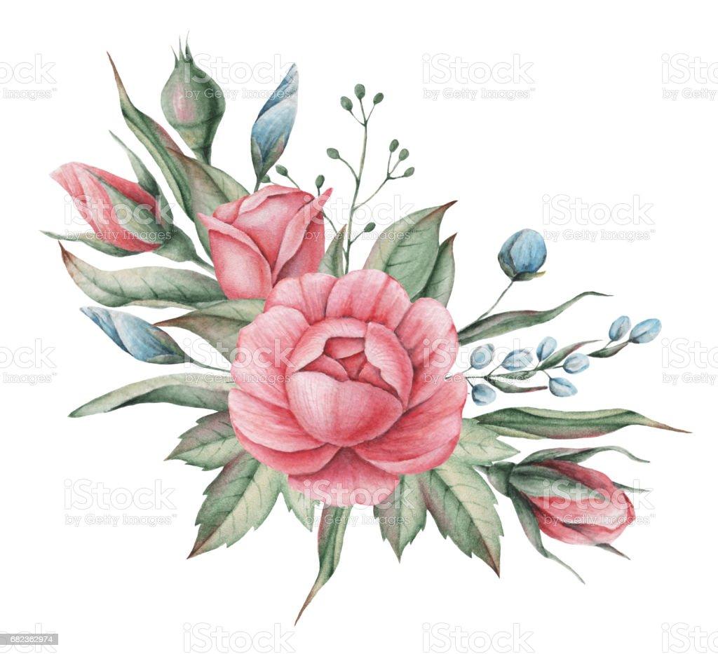 Hand målade akvarell charmig kombination av blommor och blad, isolerad på vit bakgrund royaltyfri hand målade akvarell charmig kombination av blommor och blad isolerad på vit bakgrund-vektorgrafik och fler bilder på affisch