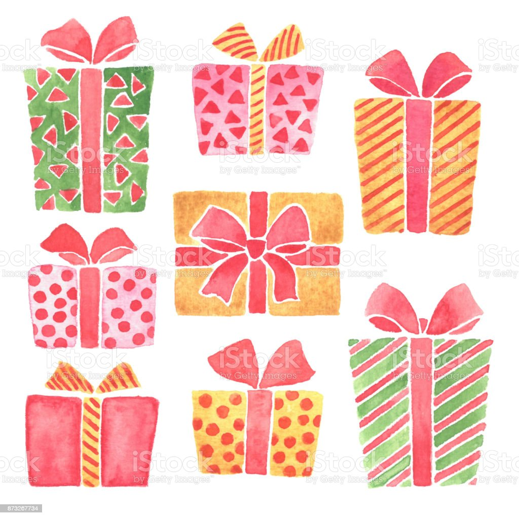 Christmas Gifts Clip Art.Hand Painted Watercolor Christmas Gifts Clip Art Stock