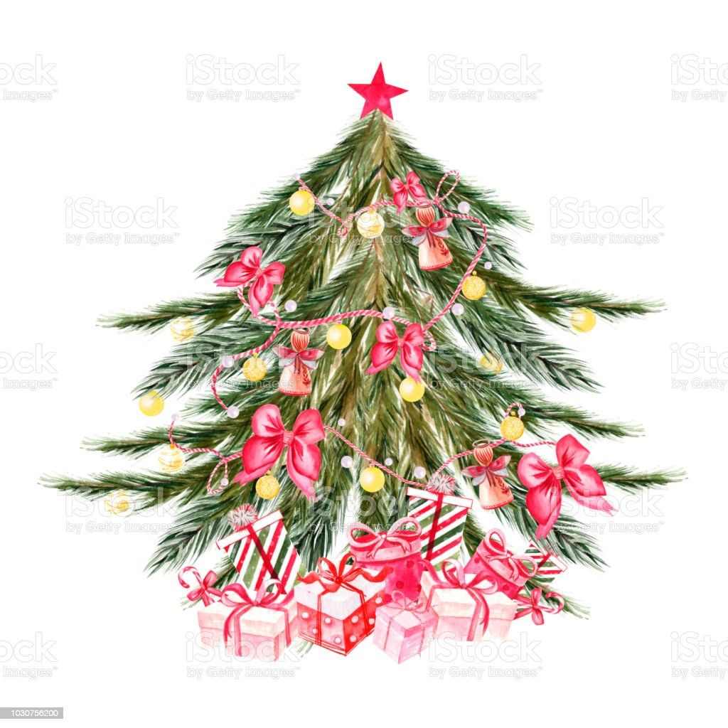 Christmas Tree Bow.Hand Painted Watercolor Christmas Tree With Balls Of Yellow Colors Bells Bows Gift Boxes Stars Stock Illustration Download Image Now