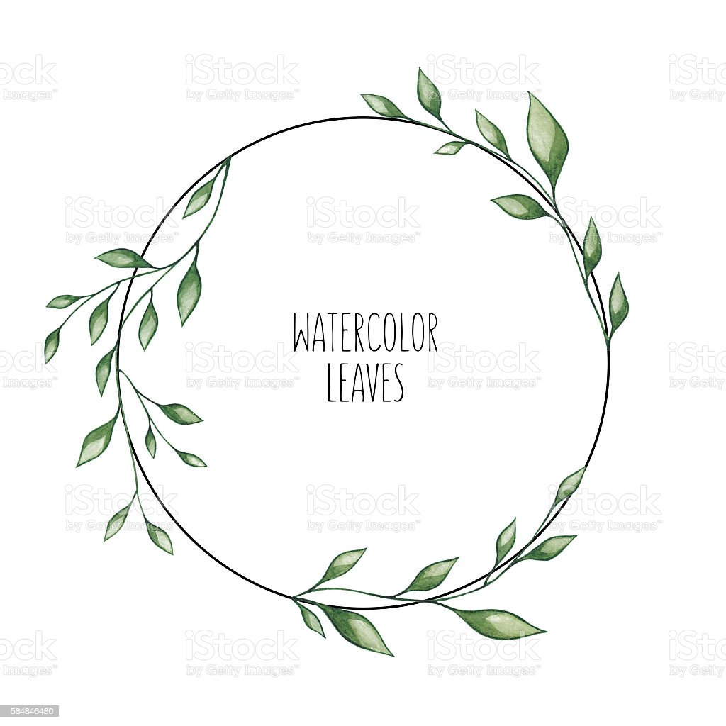 Hand Painted Watercolor Circle Frame Leaves Stock Vector