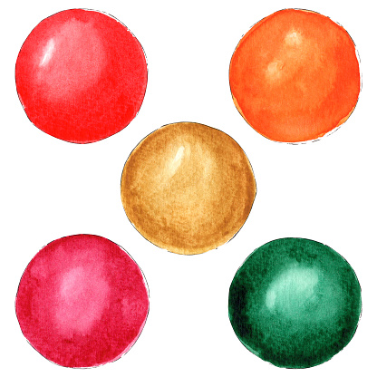 Hand painted watercolor colorful balls.