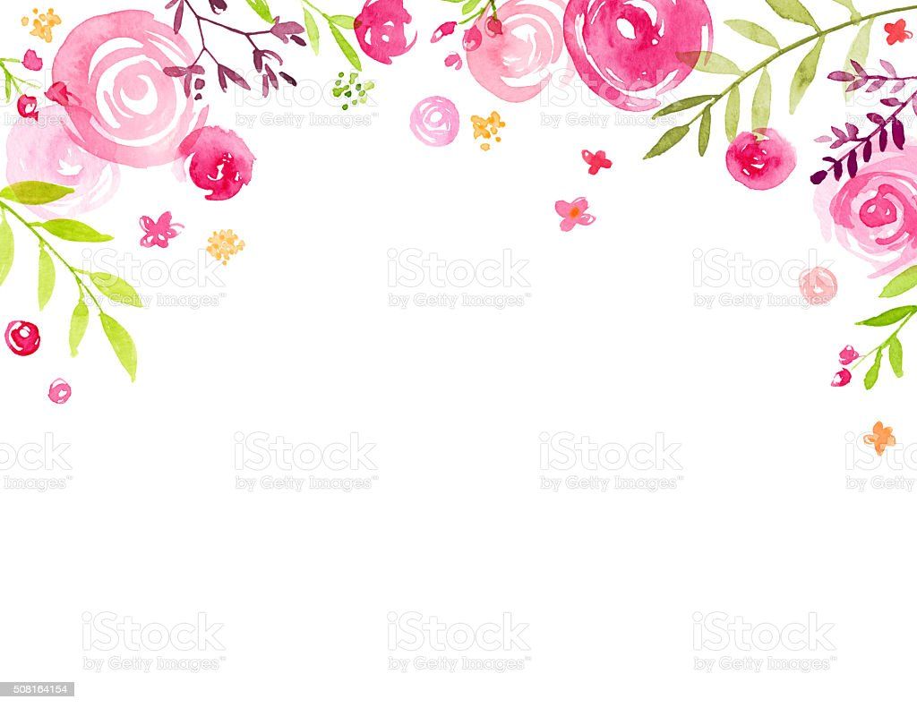 Hand Painted Watercolor Flower Canopy Frame vector art illustration