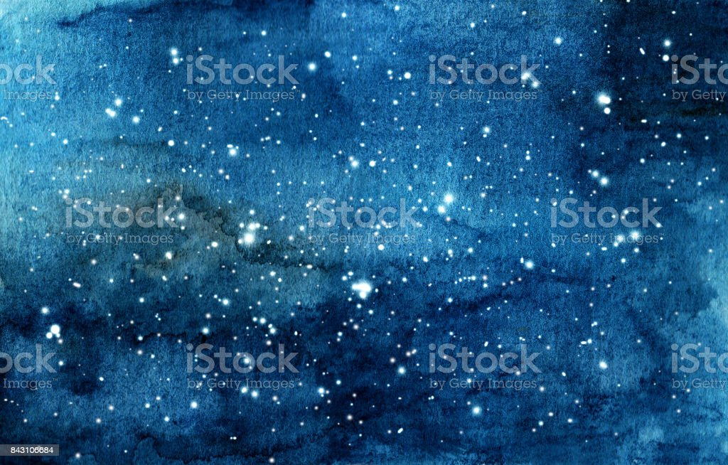 Hand painted watercolor illustration of night sky vector art illustration