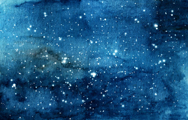 hand painted watercolor illustration of night sky - skies stock illustrations, clip art, cartoons, & icons