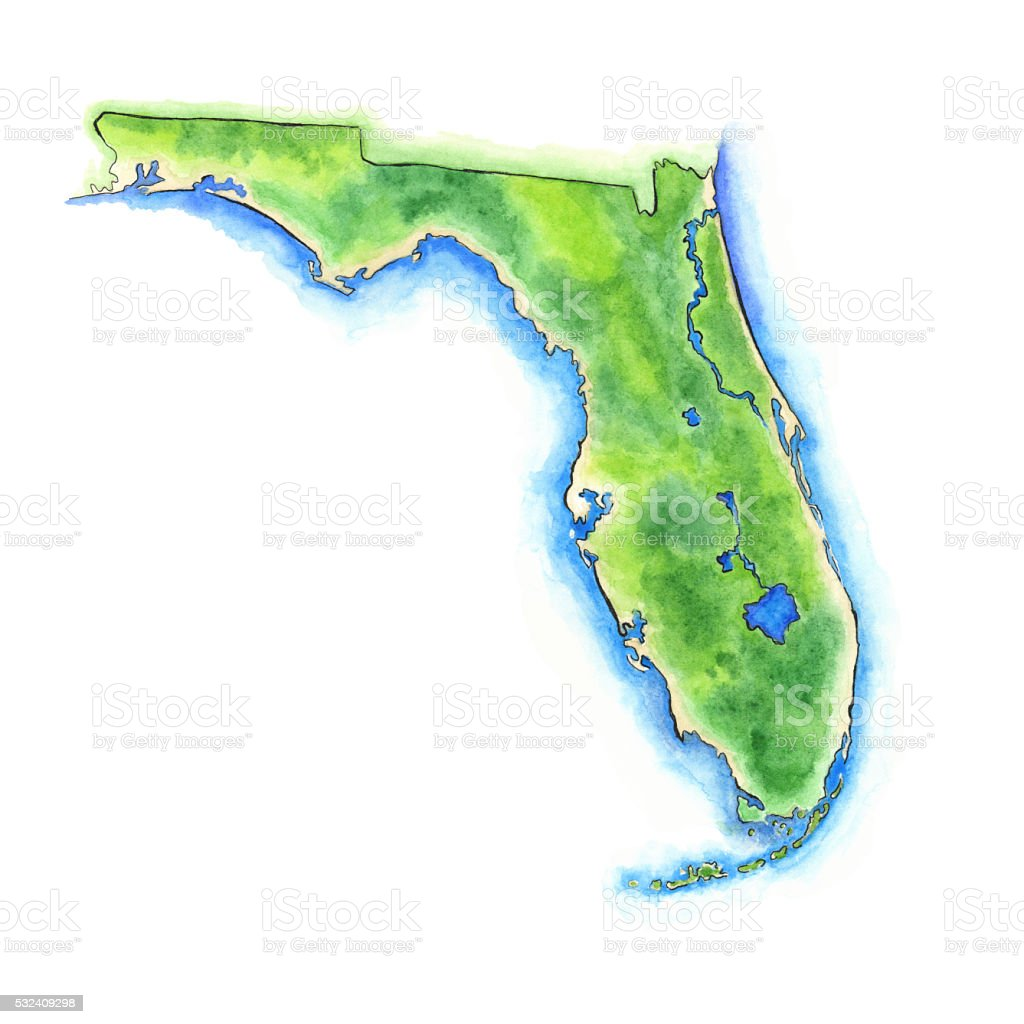 Hand Painted Watercolor Map Of The Us State Of Florida Stock - State of florida map