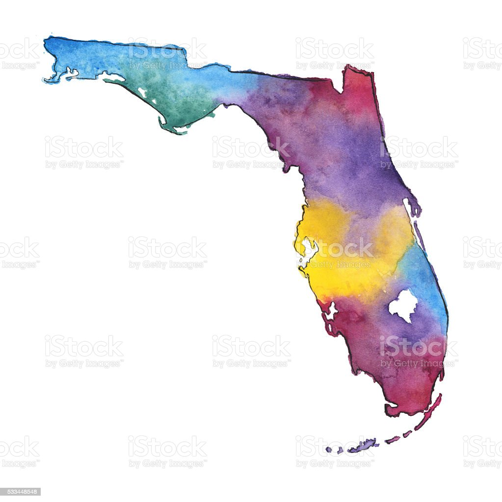 Hand Painted Watercolor Map Of The Us State Of Florida Stock - Watercolor us map