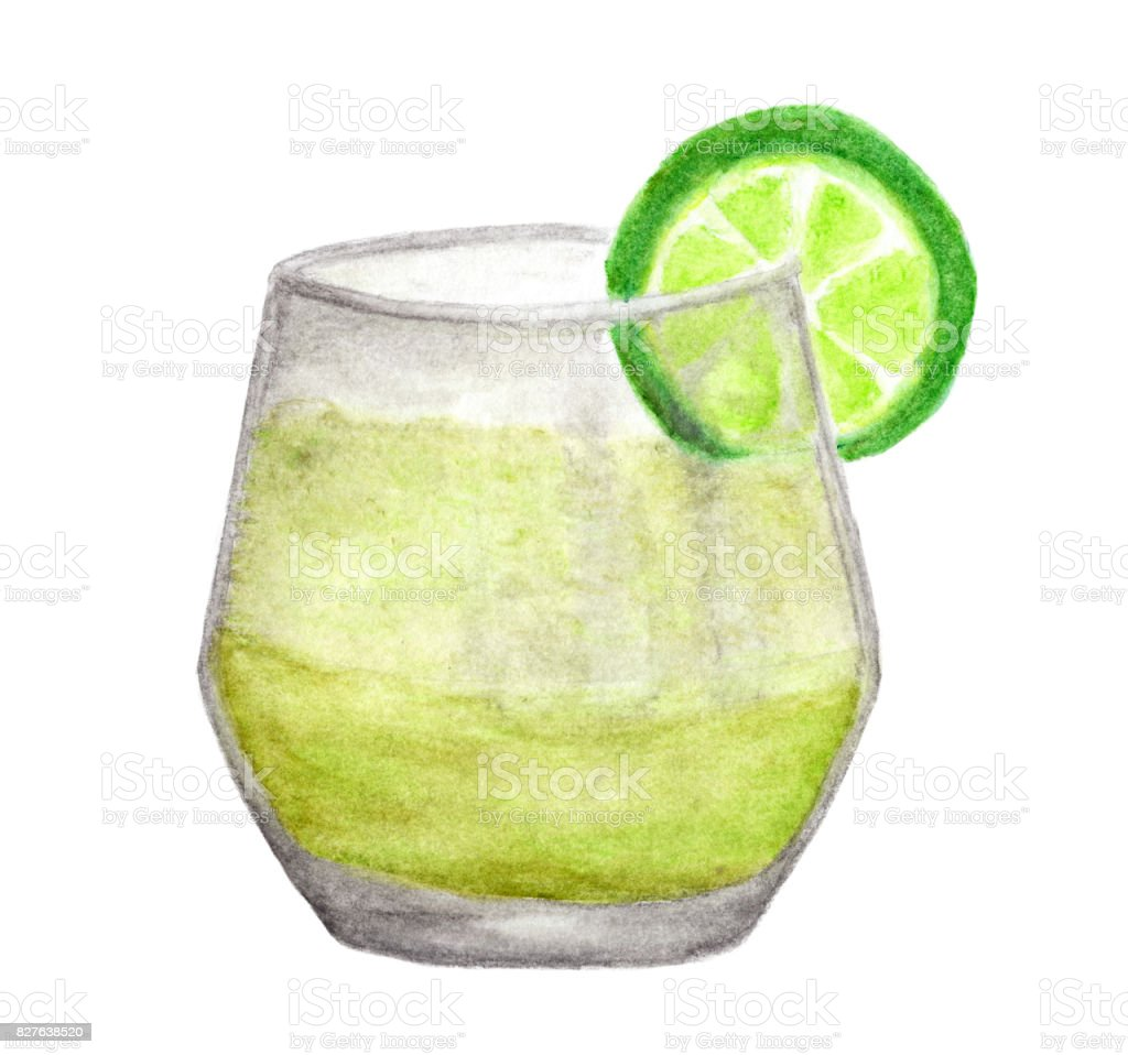 Hand painted watercolor of Cold fresh lemonade drink with lime isolated on white background , with clipping path vector art illustration