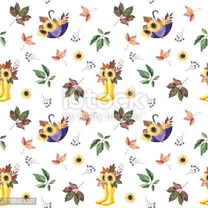 Hand painted Watercolor Seamless Pattern with yellow rubber boots, umbrella, sunflowers, Autumn leaves on white background. Design textile, cloth, greeting card, wedding invitation, wrapping paper